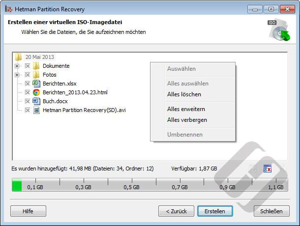 Hetman Partition Recovery: Erstellen ISO mit wiederhergestellten Dateien