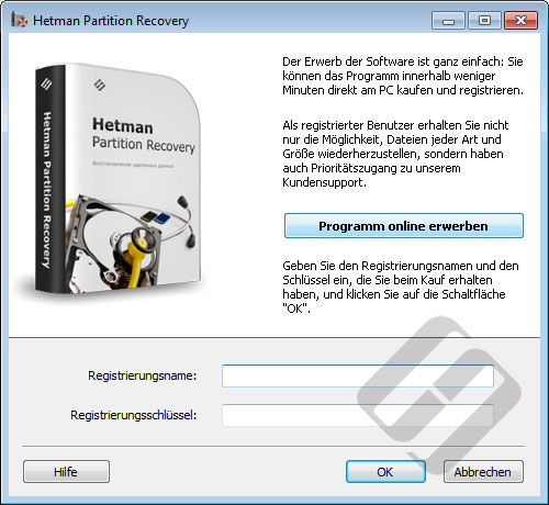 Hetman Partition Recovery: Anmeldeformular