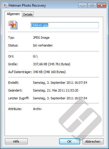 Hetman Photo Recovery: Dateieigenschaften