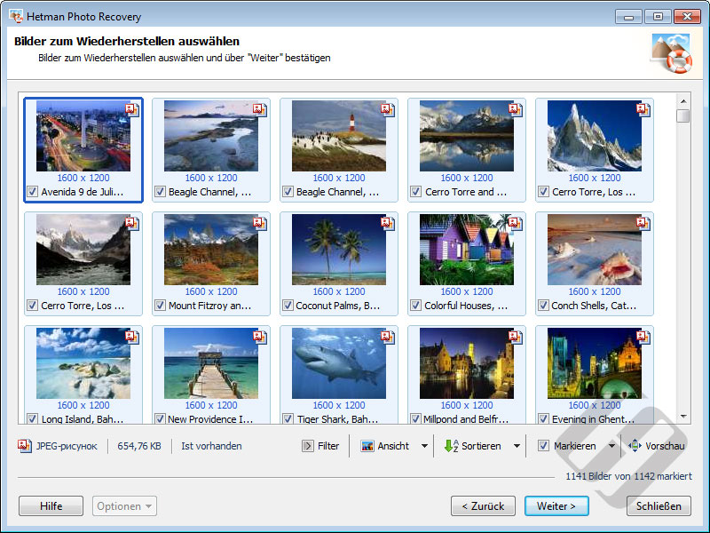 Hetman Photo Recovery: Thumbnails
