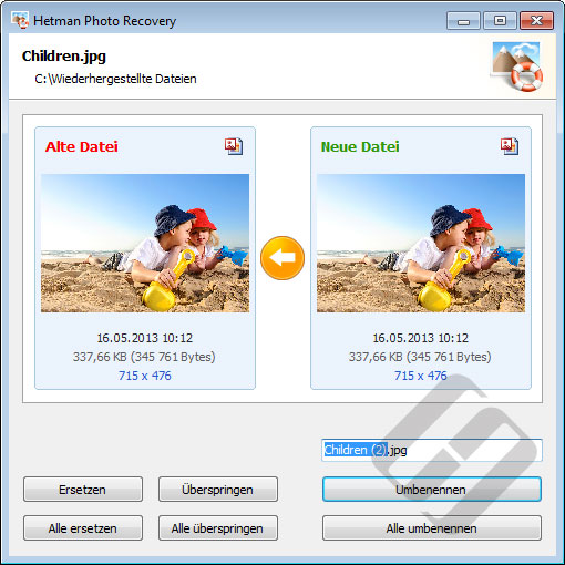 Hetman Photo Recovery: Ersetzen von Dateien