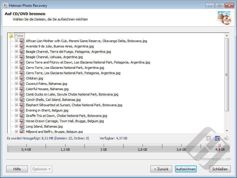 Hetman Photo Recovery: Auswählen von Dateien für CD oder DVD Burning