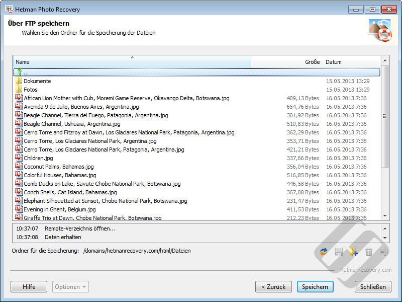 Hetman Photo Recovery: Die Wahl-Verzeichnis auf dem FTP-Server