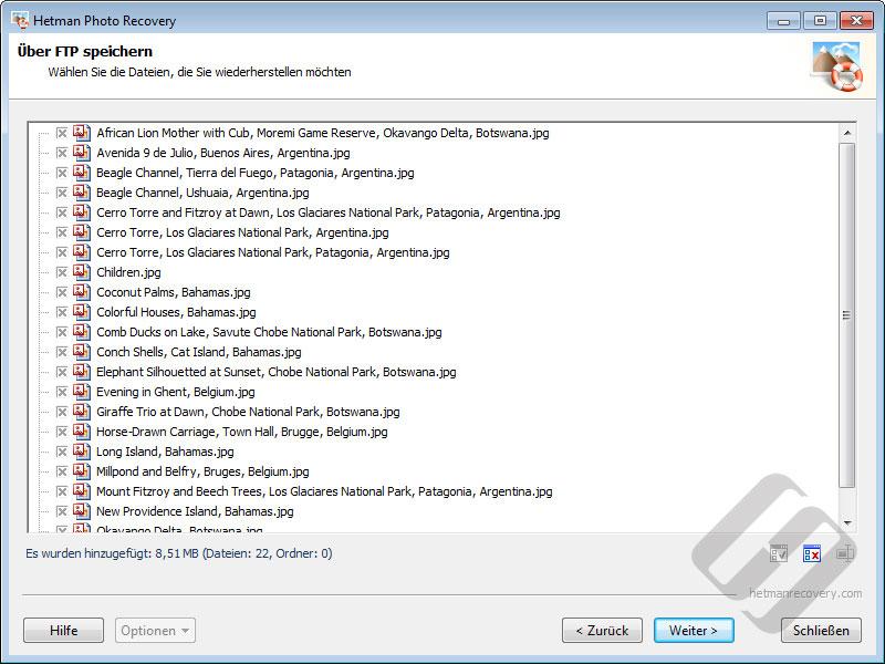 Hetman Photo Recovery: Auswählen von Dateien für den Upload