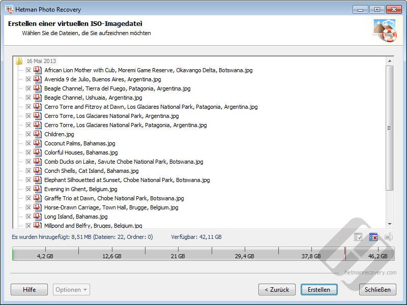 Hetman Photo Recovery: Auswählen von Dateien für die ISO-Erstellen