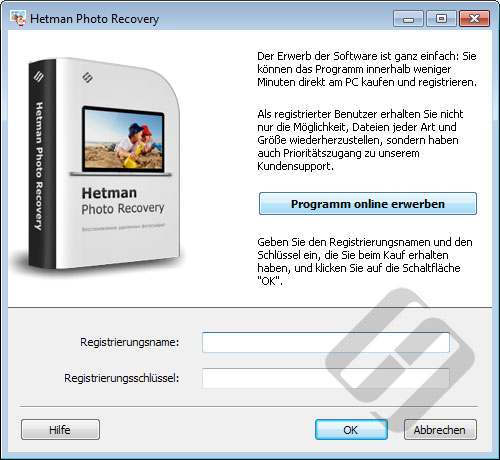 Hetman Photo Recovery: Anmeldeformular
