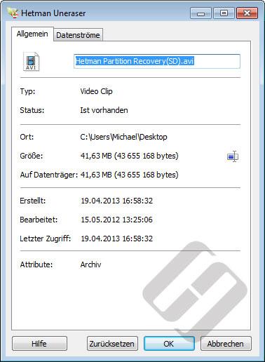 Hetman Uneraser: File Properties