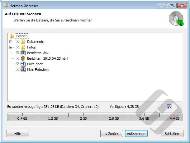 Hetman Uneraser: Auswählen von Dateien für Brenn