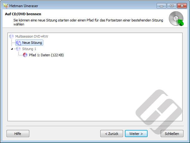 Hetman Uneraser: Burning Dateien mit Multi-Session