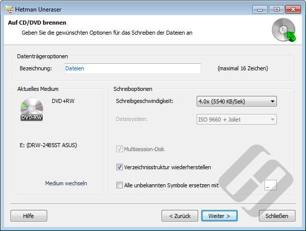 Hetman Uneraser: Festplatten-Optionen