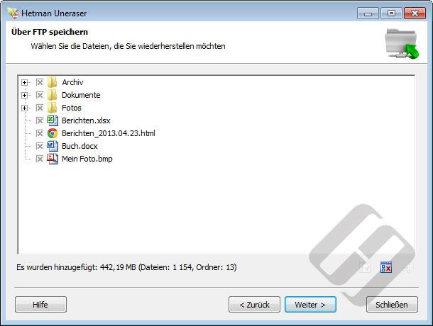 Hetman Uneraser: Auswählen von Dateien für Upload