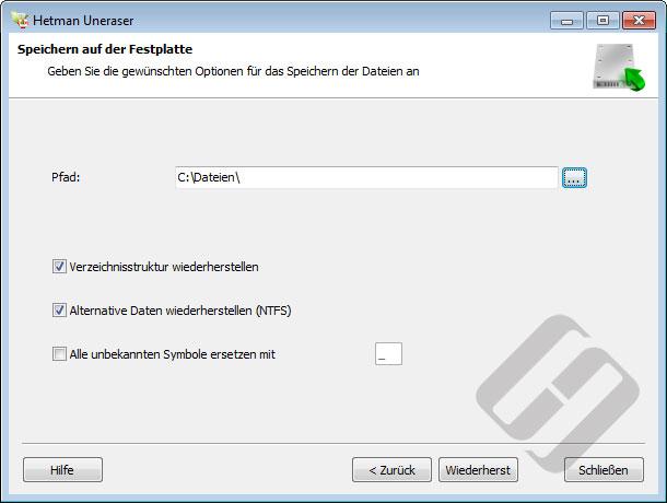 Hetman Uneraser: Speichern von Dateien auf Festplatte
