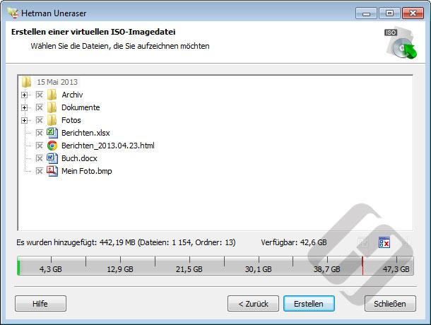 Hetman Uneraser: Auswählen von Dateien für die ISO-