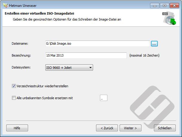 Hetman Uneraser: ISO-Optionen