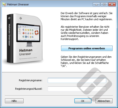 Hetman Uneraser: Anmeldeformular
