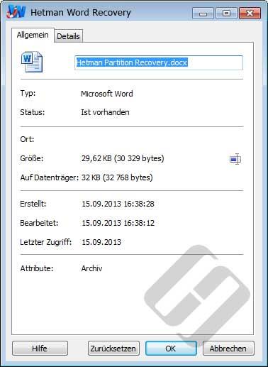Hetman Word Recovery: Dateieigenschaften