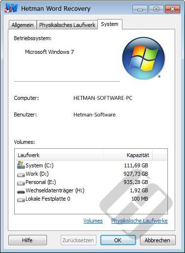 Hetman Word Recovery: Systemeigenschaften