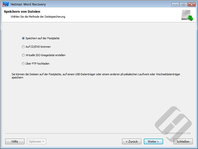 Hetman Word Recovery: Speichern von Dateien