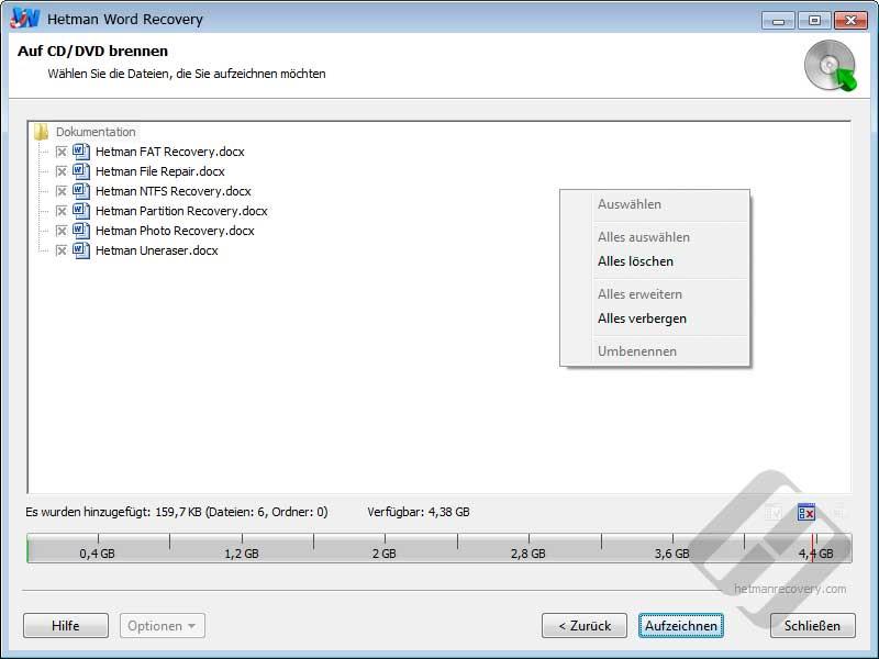 Hetman Word Recovery: Auswählen von Dateien für Brenn