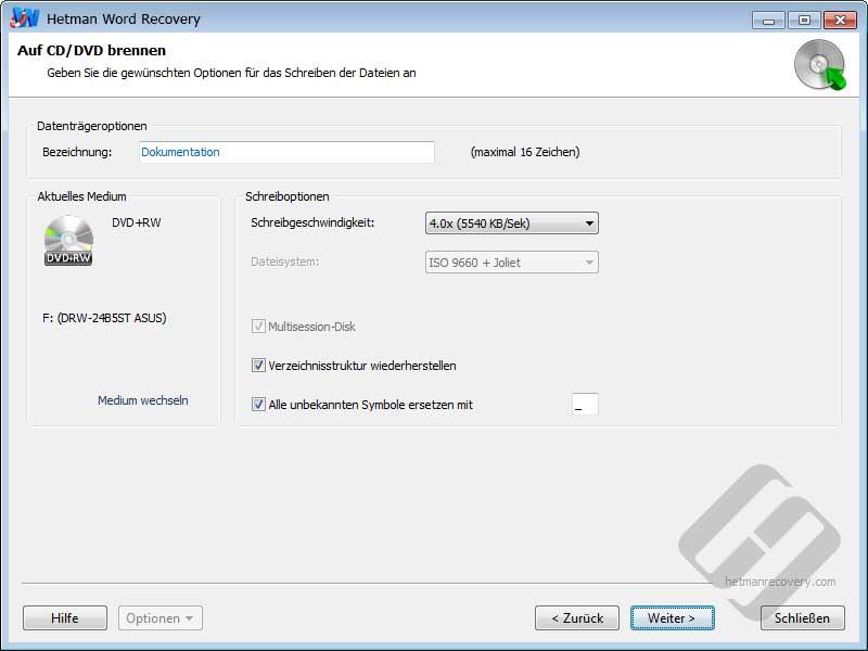 Hetman Word Recovery: CD / DVD-Optionen