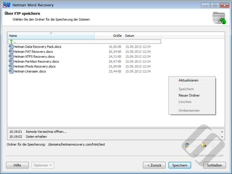Hetman Word Recovery: Die Wahl-Ordner auf dem FTP-Server
