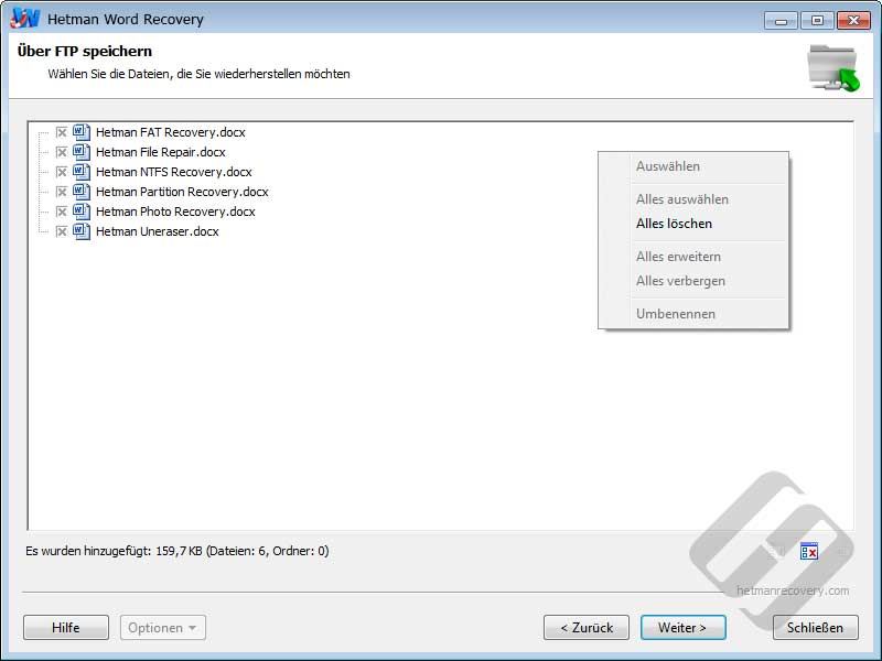 Hetman Word Recovery: Auswählen von Dateien für Upload
