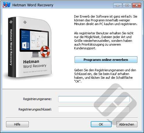 Hetman Word Recovery: Anmeldeformular