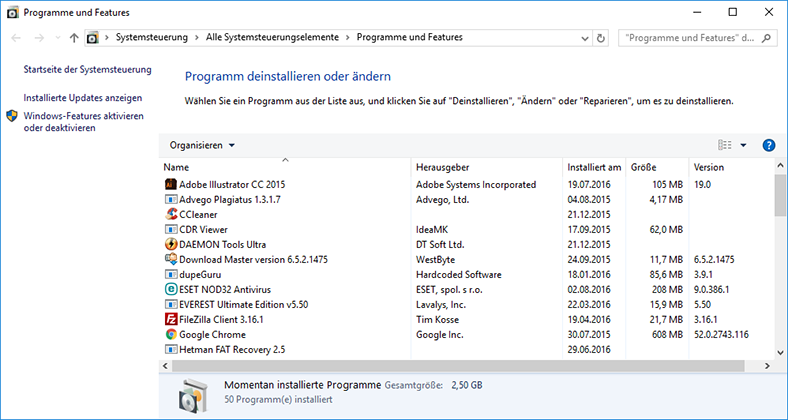 Programme und Funktionen in Windows 10