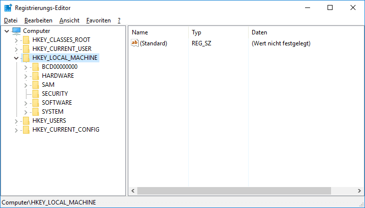 Öffnen Sie Regedit in Windows 10