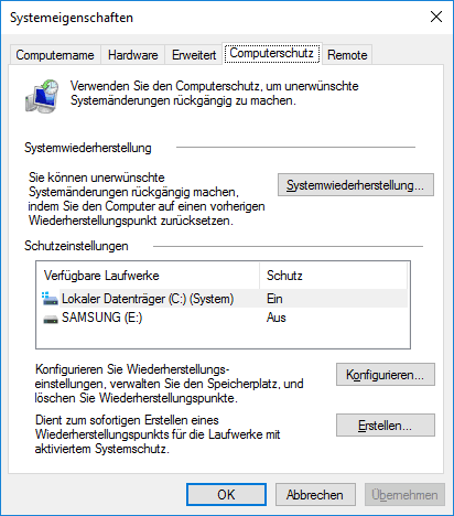 System-Eigenschaften in Windows 10