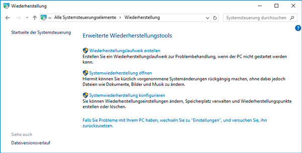 Konfigurieren der Systemwiederherstellung in Windows 10
