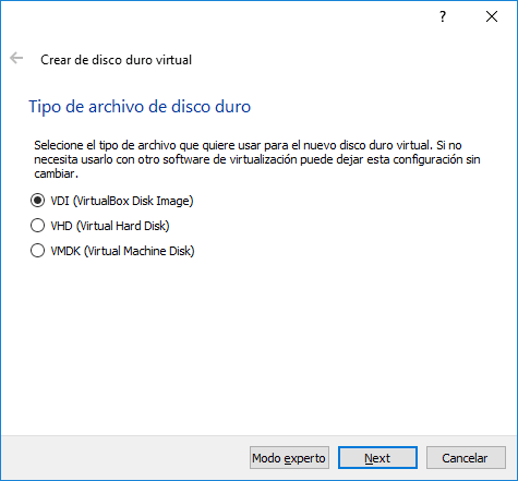 Crear de disco duro virtual