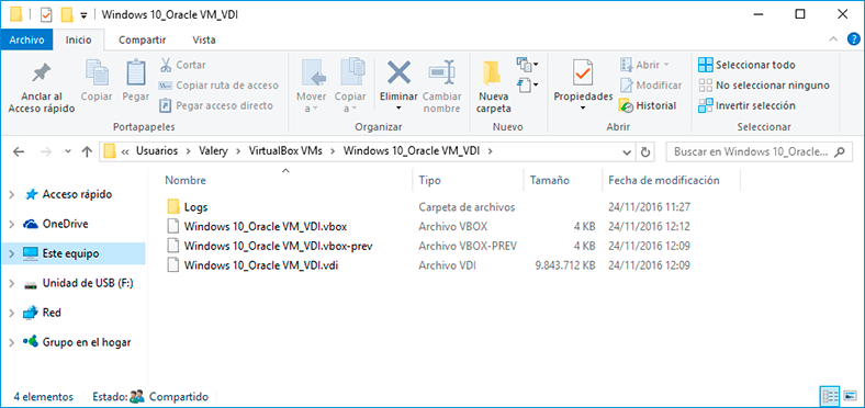 While the virtual machine is running, the program can create additional files or folders