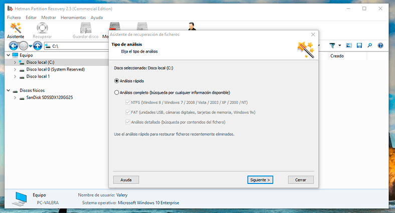 Escanee tal disco, utilizando Hetman Partition Recovery