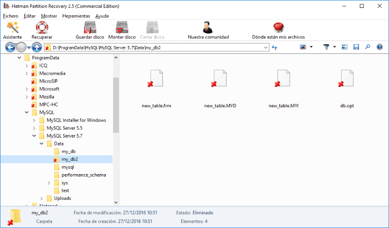 Hetman Partition Recovery. Using the program, go to the folder C:\ProgramData\MySQL\MySQL Server 5.7\Data