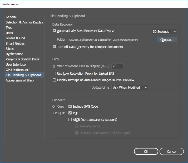 64987d1d4806e En el caso de fallo en el funcionamiento del software o un cierre no  previsto de Adobe Illustrator