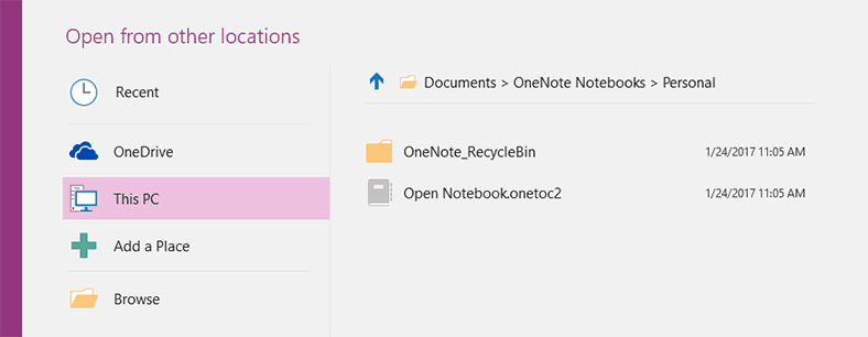 OneNote. «Open Notebook.onetoc2»