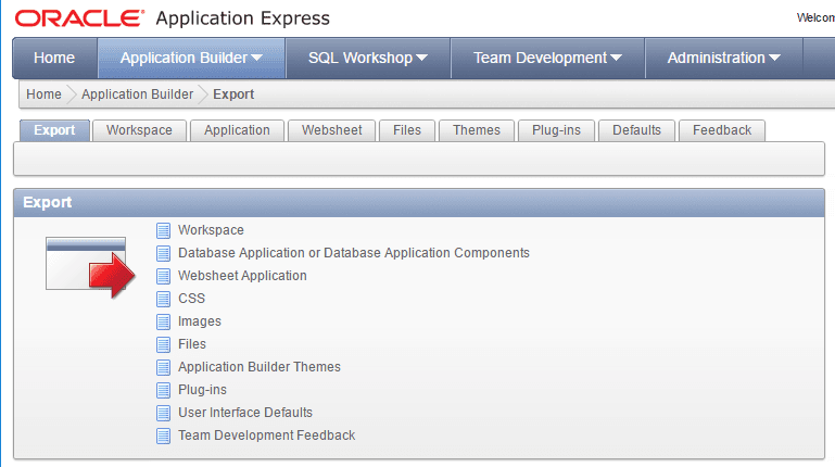 Oracle Application Express. Specify the export type