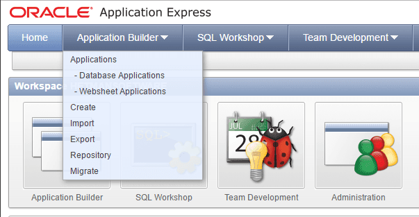 Oracle Application Express. Application Builder / Export