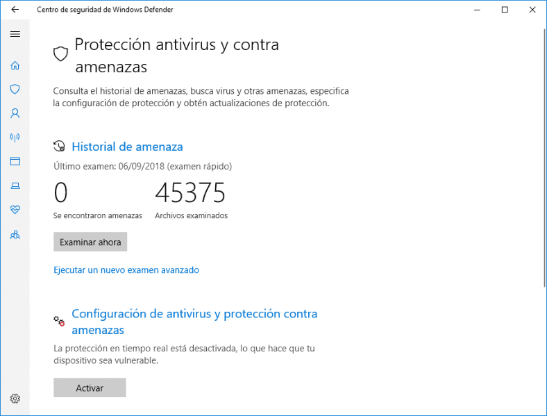 Centro de seguridad del Windows Defender