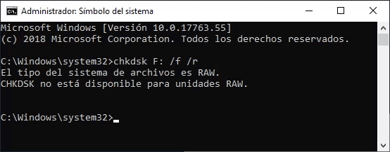 CHKDSK no está disponible para unidades RAW