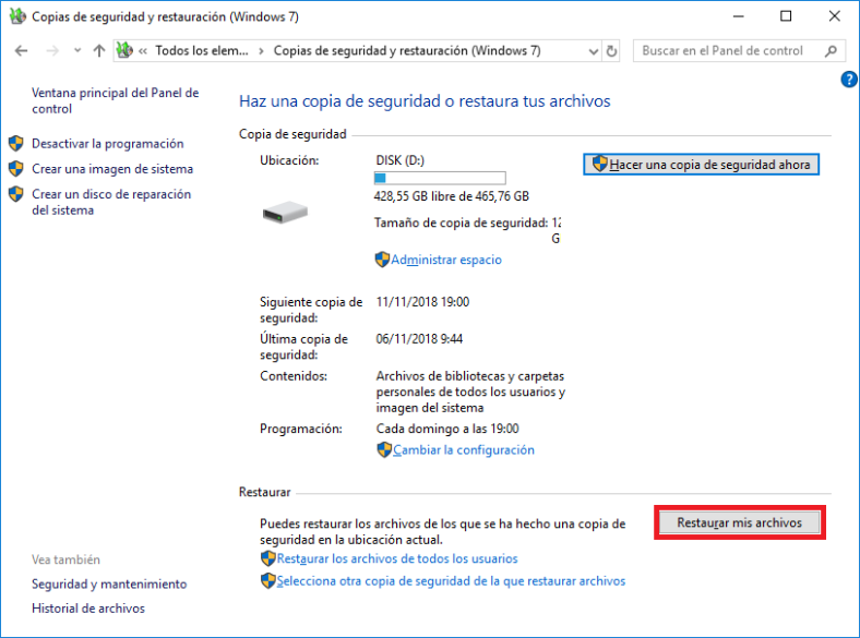 Copia de seguridad y restauración (Windows 7)
