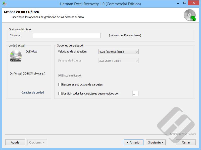 Hetman Excel Recovery: Opciones de DVD