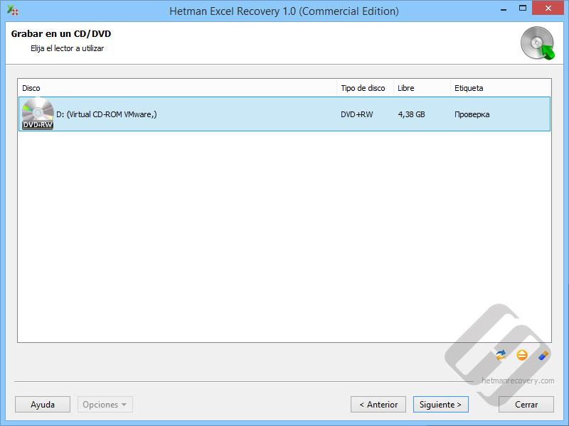 Hetman Excel Recovery: La elección de DVD o CD-Rom