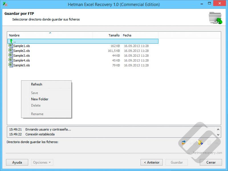 Hetman Excel Recovery: Elegir carpetas en el servidor FTP
