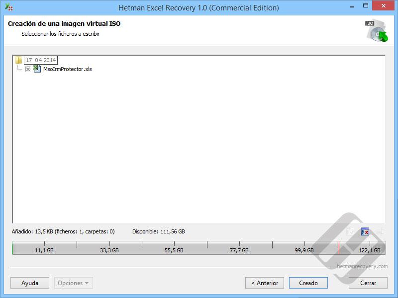 Hetman Excel Recovery: Selección de archivos de la ISO