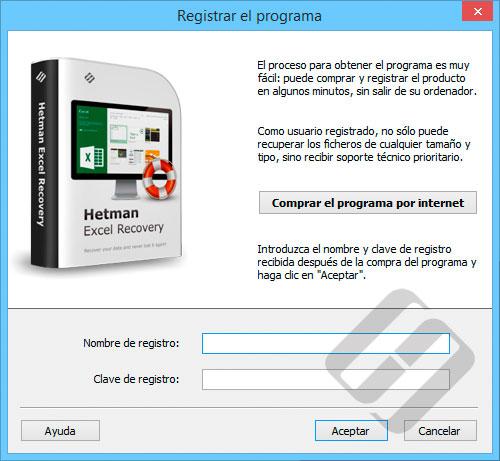 Hetman Excel Recovery: formulario de inscripción
