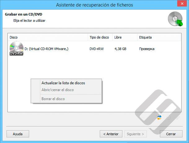 Hetman FAT Recovery: Selección de CD o DVD-Rom para Burning