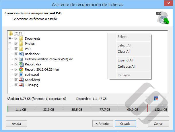 Hetman FAT Recovery: Selección de archivos de la ISO