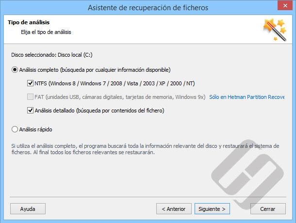 Hetman NTFS Recovery: Métodos de exploración